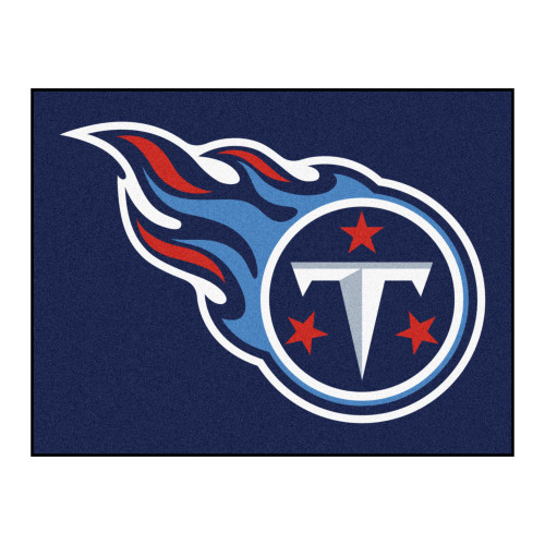 """33.75"""" x 42.5"""" Blue and White NFL Tennessee Titans Rectangular Mat - IMAGE 1"""