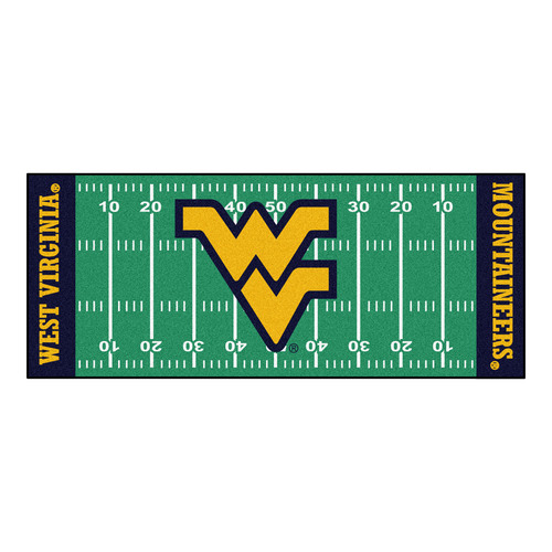 "30"" x 72"" Green and Black NCAA West Virginia University Mountaineers Football Field Runner - IMAGE 1"