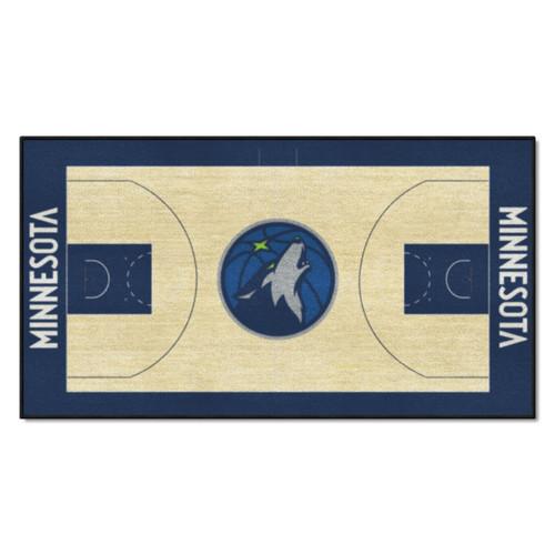 "24"" x 44"" Beige and Blue NBA Minnesota Timberwolves Court Rug Runner - IMAGE 1"
