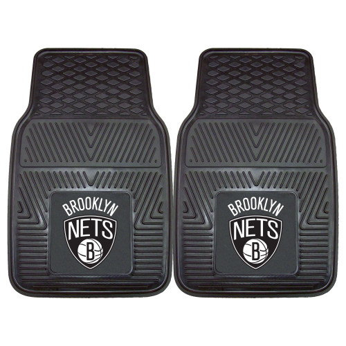 "Set of 2 Black NBA Brooklyn Nets Car Mats 17"" x 27"" - IMAGE 1"