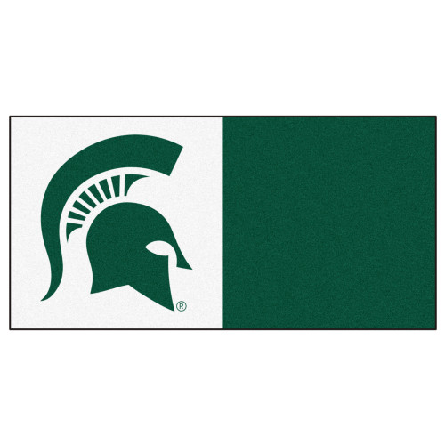 """20pc White and Green NCAA Michigan State University Spartans Team Carpet Tile Set 18"""" x 18"""" - IMAGE 1"""