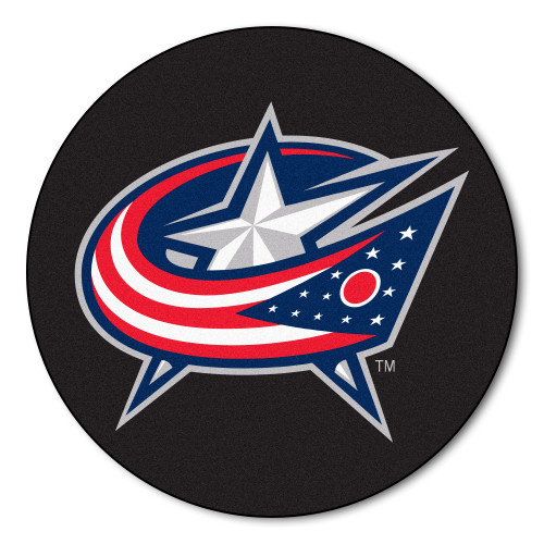 """Black and Red NHL Columbus Blue Jackets Puck Mat Round Area Rug 27"""" - IMAGE 1"""