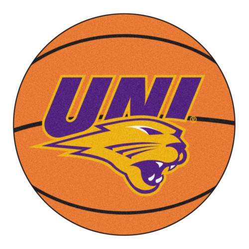 "27"" Orange and Purple NCAA University of Northern Iowa Panthers Basketball Shaped Door Mat - IMAGE 1"