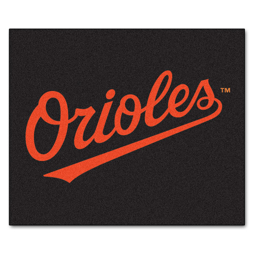 """59.5"""" x 71"""" Black and Orange MLB Baltimore Orioles Tailgater Mat Outdoor Area Rug - IMAGE 1"""