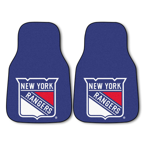 """Set of 2 Blue and White NHL New York Rangers Front Carpet Car Mats 17"""" x 27"""" - IMAGE 1"""