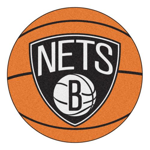 "27"" Orange and White NBA Brooklyn Nets Basketball Round Doormat - IMAGE 1"