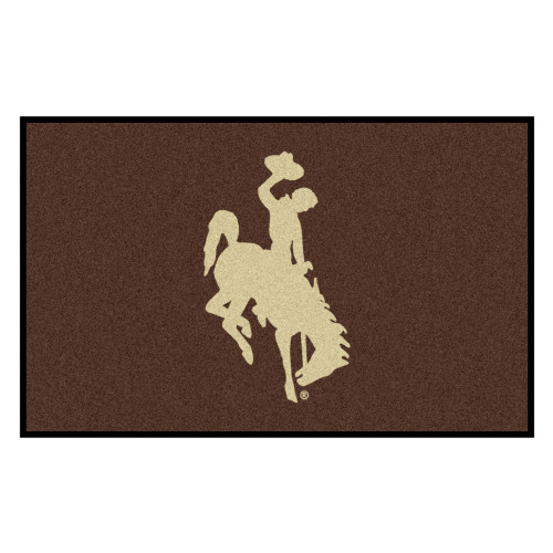 5' x 8' Brown and White NCAA University of Wyoming Cowboys Outdoor Rectangular Area Rug - IMAGE 1