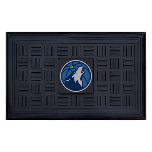 "19.5"" x 31.25"" Blue and Black NBA Minnesota Timberwolves Basketball and Wolf 3-D Team Medallion Doormat - IMAGE 1"