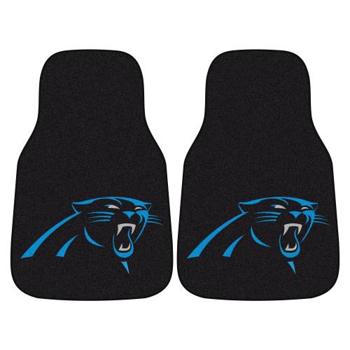 """Set of 2 Black and Blue NFL Carolina Panthers Car Mats 17"""" x 27"""" - IMAGE 1"""