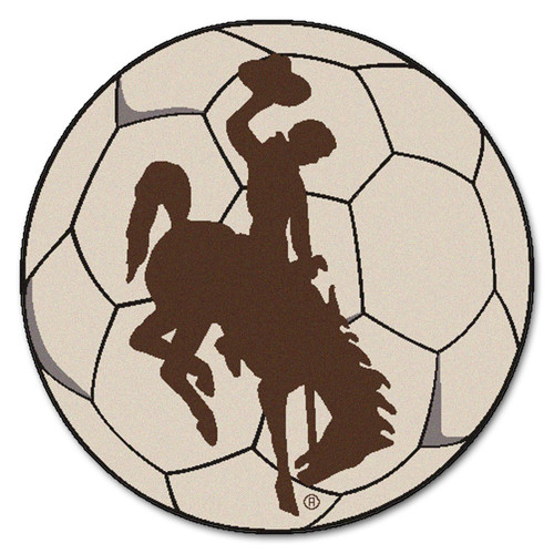 """27"""" White and Brown NCAA University of Wyoming Cowboys Soccer Ball Mat Round Area Rug - IMAGE 1"""