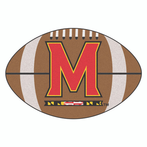 """20.5"""" x 32.5"""" Brown and Red NCAA University of Maryland Terps Football Shaped Mat Area Rug - IMAGE 1"""