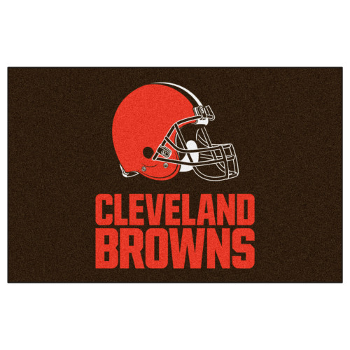 """59.5"""" x 94.5"""" Black and Red NFL Cleveland Browns Ulti Mat Rectangular Outdoor Area Rug - IMAGE 1"""