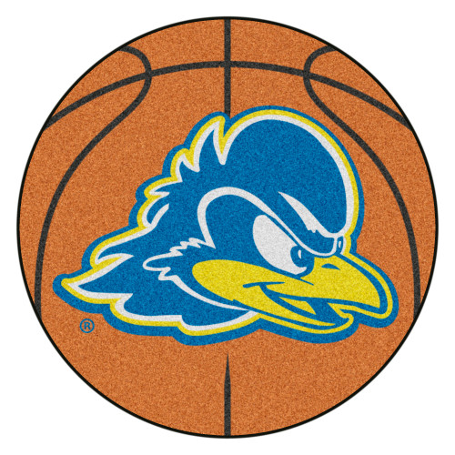 """27"""" Red and Blue NCAA University of Delaware Fightin' Blue Hens Basketball Shaped Mat Area Rug - IMAGE 1"""