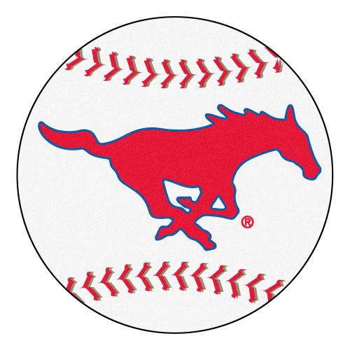 "NCAA Southern Methodist University Mustangs Baseball Shaped Mat Round Area Rug 27"" - IMAGE 1"