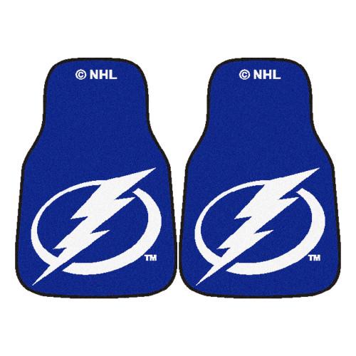 "Set of 2 Blue and White NHL Tampa Bay Lightning Front Carpet Car Mats 17"" x 27"" - IMAGE 1"