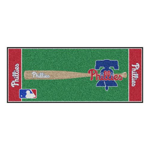 """30"""" x 72"""" Red and Green MLB Philadelphia Phillies Non-Skid Baseball Mat Area Rug Runner - IMAGE 1"""