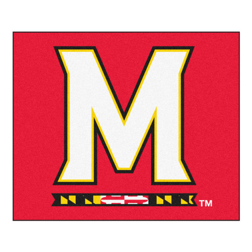 """59.5"""" x 71"""" Red and White NCAA University of Maryland Terps Tailgater Mat Outdoor Area Rug - IMAGE 1"""