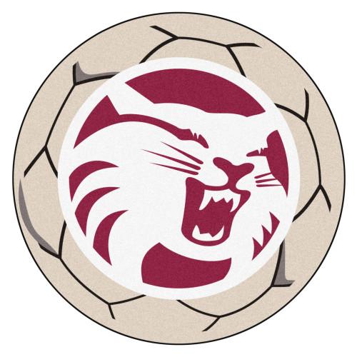 "27"" Gray and Red NCAA Chico Wildcats Soccer Ball Door Mat - IMAGE 1"