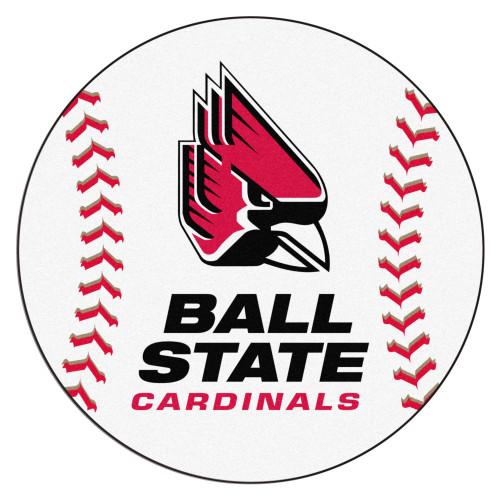 "27"" White and Pink Contemporary NCAA Ball State University Cardinals Baseball Round Mat - IMAGE 1"