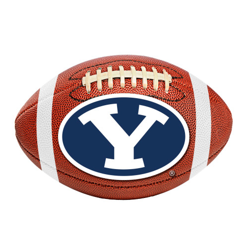 """20.5"""" x 32.5"""" Brown and Blue NCAA Brigham Young University Cougars Football Mat Area Rug - IMAGE 1"""