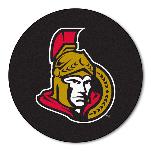 "27"" Black and Red NHL Ottawa Senators Puck Round Doormat - IMAGE 1"