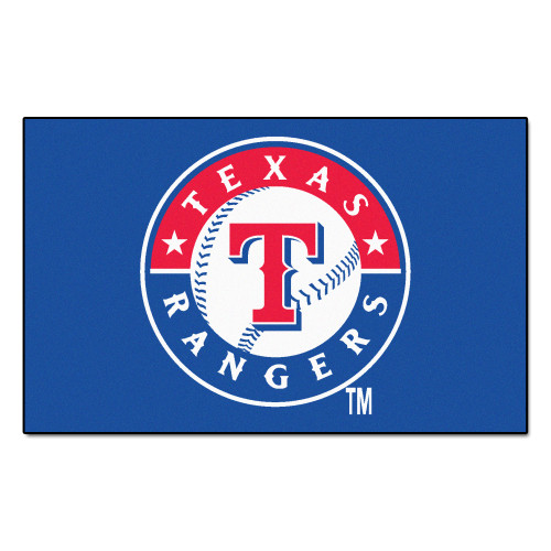 """59.5"""" x 94.5"""" Blue and Red MLB Texas Rangers Ulti-Mat Rectangular Outdoor Area Rug - IMAGE 1"""