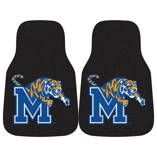 "Set of 2 Black and Blue NCAA University of Memphis Tigers Front Carpet Car Mats 17"" x 27"" - IMAGE 1"