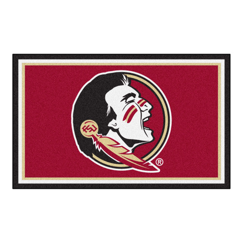 3.6' x 5.9' Red and Black NCAA Florida State University Seminoles Rectangular Plush Area Rug - IMAGE 1