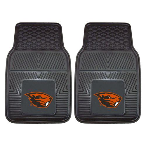 "Set of 2 Black and Orange NCAA Oregon State University Beavers Carpet Car Mats 17"" x 27"" - IMAGE 1"