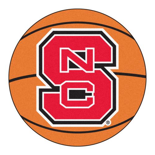 "27"" Orange and Red NCAA North Carolina State University Wolfpack Basketball Mat Area Rug - IMAGE 1"