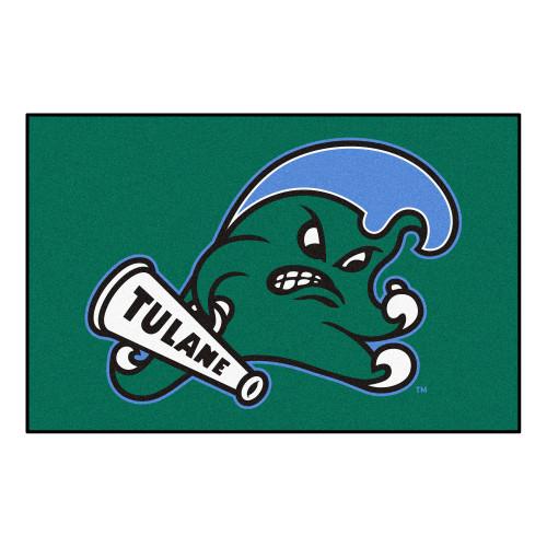 "19"" x 30"" Green and Blue NCAA Tulane University Wave Starter Mat Rectangular Area Rug - IMAGE 1"