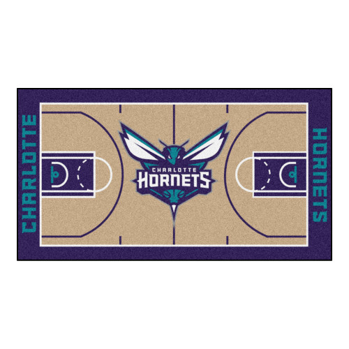 2.4' x 4.5' Blue and Brown NBA Charlotte Hornets Court Area Rug Runner - IMAGE 1