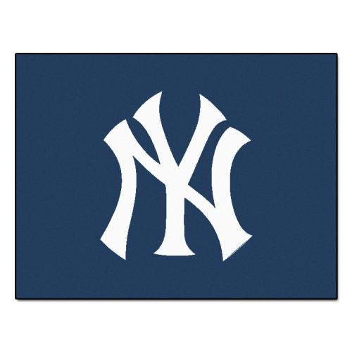 "33.75"" x 42.5"" Blue and White MLB New York Yankees All Star Mat Rectangular Area Rug - IMAGE 1"