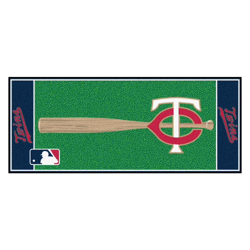 "30"" x 72"" Red and Green MLB Minnesota Twins Non-Skid Baseball Mat Area Rug Runner - IMAGE 1"