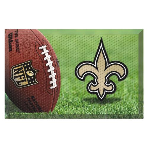 """19"""" x 30"""" Green and Beige NFL New Orleans Saints Shoe Scraper Door Mat - IMAGE 1"""