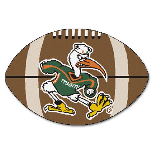 "20.5"" x 32.5"" Brown and Green NCAA University of Miami Hurricanes Football Door Mat - IMAGE 1"