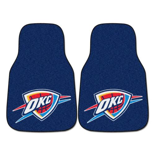 "Set of 2 Blue and Red NBA Oklahoma City Thunder Carpet Car Mats 17"" x 27"" - IMAGE 1"