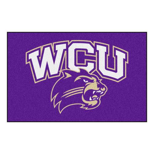 "Purple and White NCAA Western Carolina University Catamounts Rectangular Starter Door Mat 19"" x 30"" - IMAGE 1"