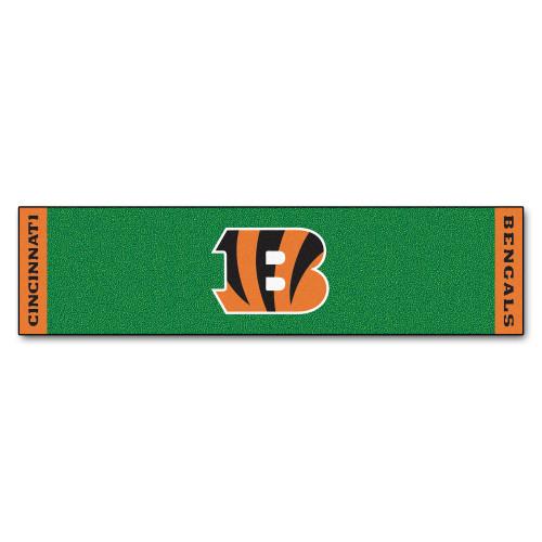 "18"" x 72"" Green and Orange NFL Cincinnati Bengals Golf Putting Mat - IMAGE 1"