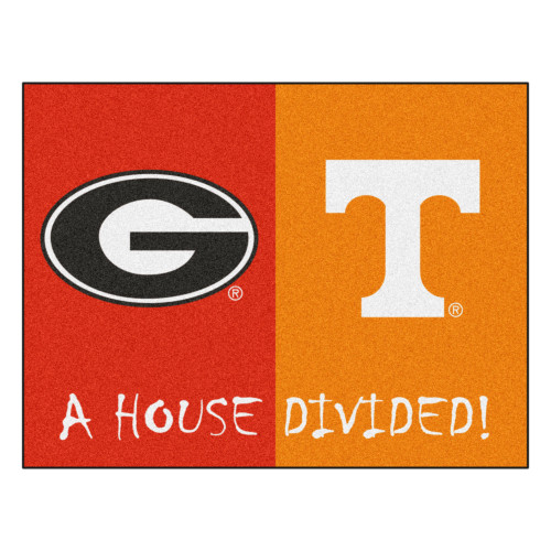 """33.75"""" x 42.5"""" Red and Orange NCAA Georgia Bulldogs - Tennessee Volunteers House Divided Mat - IMAGE 1"""
