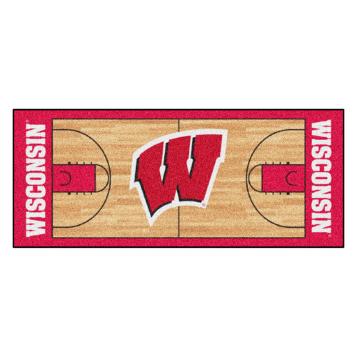 """30"""" x 72"""" Red and White NCAA University of Wisconsin Badgers Basketball Non-Skid Mat Area Rug Runner - IMAGE 1"""