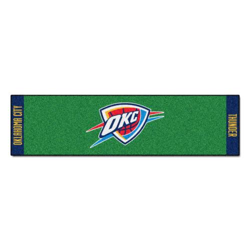 "18"" x 72"" Green and Red NBA Oklahoma City Thunder Rectangular Golf Putting Mat - IMAGE 1"