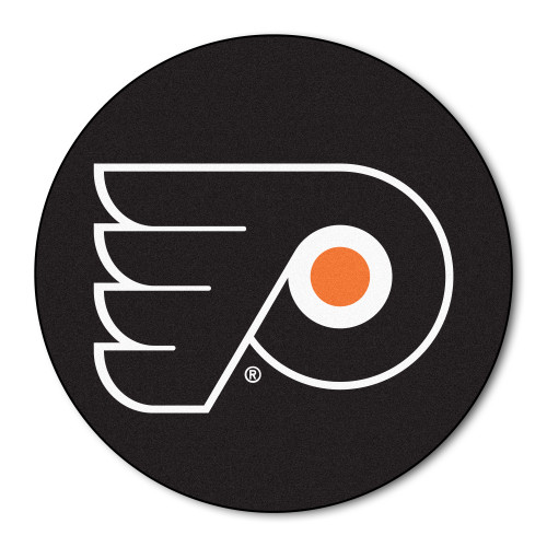 """27"""" Black and White NHL Philadelphia Flyers Puck Mat Round Area Rug - IMAGE 1"""