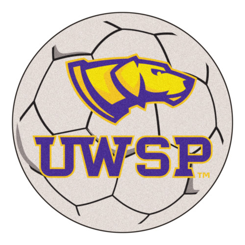 """27"""" Gray and Yellow NCAA University of Wisconsin Stevens Point Soccer Ball Round Door Mat - IMAGE 1"""