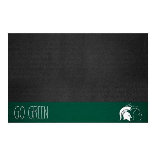 """26"""" x 42"""" Black and Green NCAA Michigan State University Spartans Grill Mat Outdoor Area Rug - IMAGE 1"""