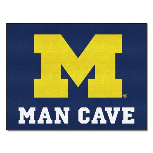 "33.75"" x 42.5"" Blue and Yellow NCAA University of Michigan Wolverines Rectangular Mat Area Rug - IMAGE 1"