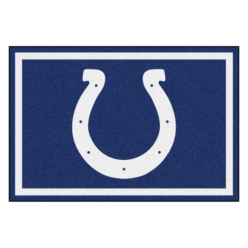 4.9' x 7.3' Blue and White NFL Indianapolis Colts Ultra Plush Rectangular Area Rug - IMAGE 1