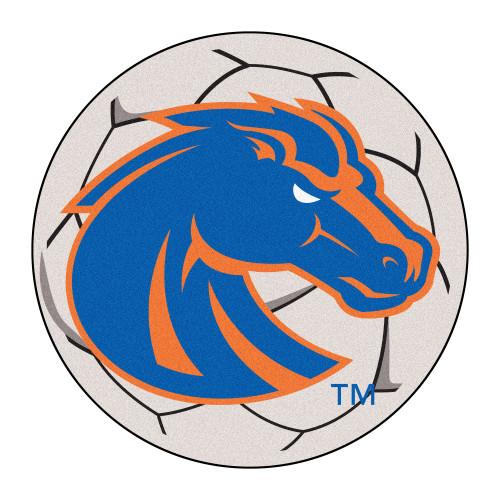"27"" Blue and Orange NCAA Boise State University Broncos Soccer Ball Round Mat - IMAGE 1"
