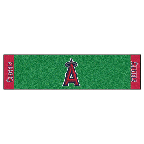 """18"""" x 72"""" Green and Red MLB Los Angeles Angels Golf Putting Mat - IMAGE 1"""