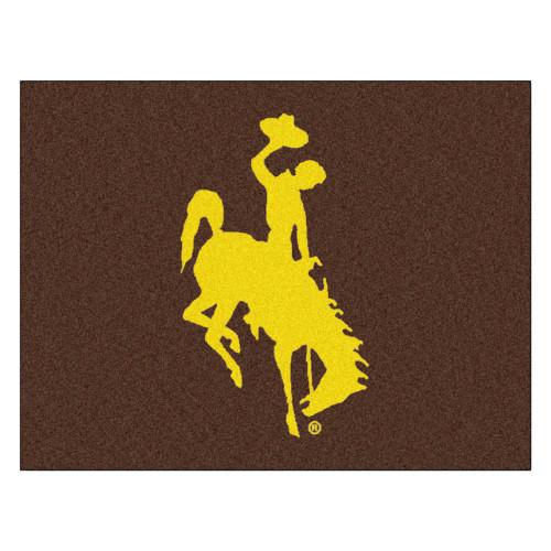 "33.75"" x 42.5"" Brown and Yellow NCAA University of Wyoming Cowboys Rectangular Area Rug - IMAGE 1"